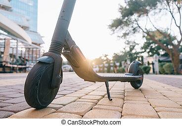 ville, scooter, parc, électrique, sunset.