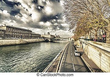 ville, seine, paris., merveilleux, long, rivière, vue