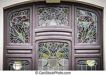 ville, siècle, vitrail, espagnol, valence, dix-neuvième, style