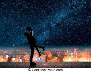 ville, sien, haut, au-dessus, petite amie, prise, homme
