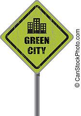 ville, signe., vert, route