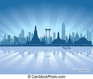 ville, silhouette, bangkok, horizon, vecteur, thaïlande