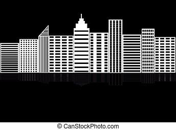 ville, silhouette