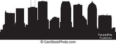 ville, silhouette, floride, horizon, vecteur, tampa