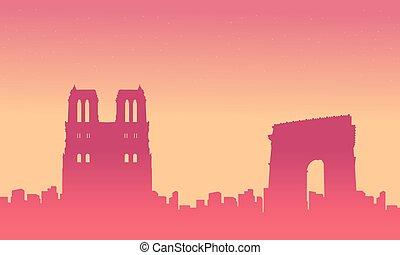 ville, silhouette, france, horizon, fond, paysage