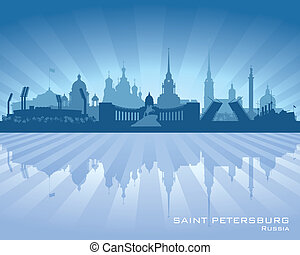 ville, silhouette, horizon, petersburg, saint, russie