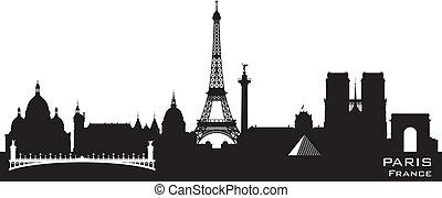 ville, silhouette, paris france, horizon, vecteur