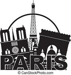ville, silhouette, paris, illustration, horizon, milieu noir, blanc