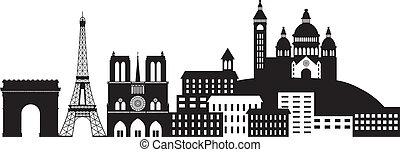 ville, silhouette, paris, illustration, horizon, noir, blanc
