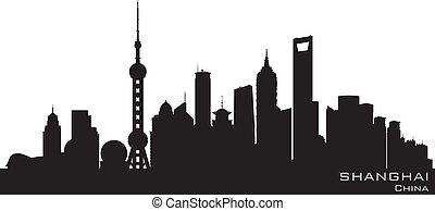 ville, silhouette, shanghai, horizon, vecteur, porcelaine