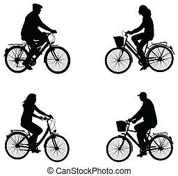 ville, silhouettes, cyclistes