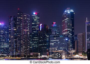ville, singapour, downtown., horizon, nuit, cityscape, urbain