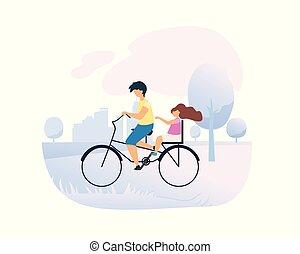 ville, soeur, frère, peu, conduit, vélo, park.