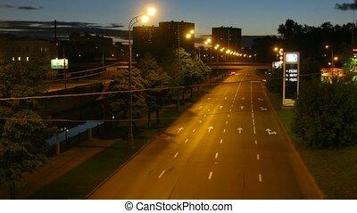 ville, soir, autoroute