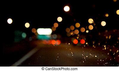 ville, soir, résumé, lights., mouvement, arrière-plan., blur., traffic.