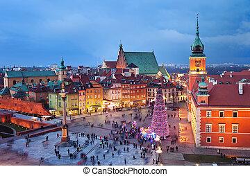 ville, soir, vieux, varsovie