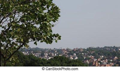 ville, sommet, colline, hd, vue