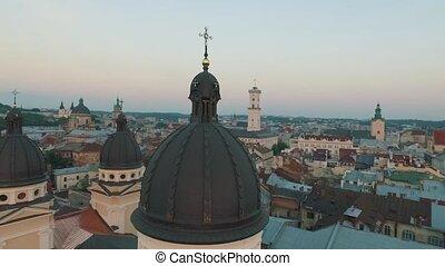 ville, sommet, lviv, vue