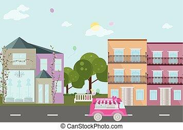 ville, style, baloons, rue, plat, vecteur, vue
