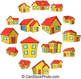 ville, style, ensemble, maison, petite maison, dessin animé