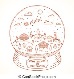 ville, style, illustration, boule de neige, vecteur, salutations, année, nouveau, ligne, noël