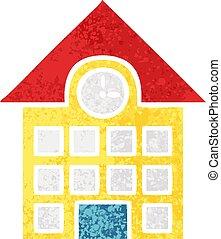 ville, style, maison, illustration, retro, dessin animé