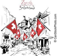 ville, suisse, vieux, zurich