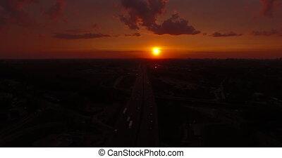 ville, sur, aérien, coucher soleil, vue