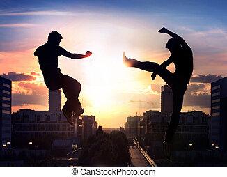 ville, sur, combattants, deux, capoeira, fond