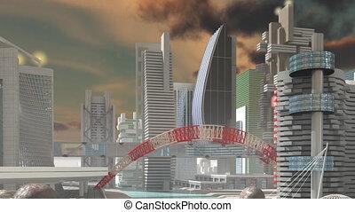 ville, sur, sci-fi, mouche