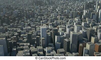ville, sur, vol, 3d