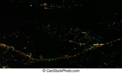 ville, sur, vol nuit, grand