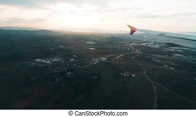 ville, sur, voler, fenêtre, avion, vue