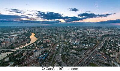 ville, timelapse, aérien, observation, formulaire, sommet, après, moscou, business, plate-forme, vue, nuit, city., sunset., jour, centre