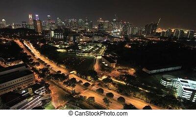 ville, timelapse, singapour, nuit