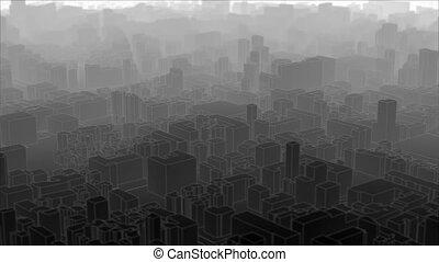 ville, toon, -, sur, voler, capable, boucle