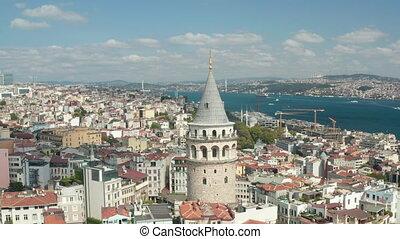 ville, tour, jour, aérien, galata, au-dessus, beau, istanbul, ciel, coeur, bleu, vue