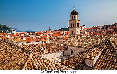 ville, tuiles, vieux, toits, dubrovnik, rouges