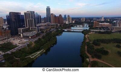 ville, urbain, en ville, panoramique, horizon, architecture, austin, texas