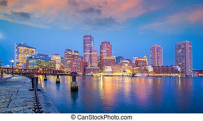 ville, usa, horizon, boston, en ville