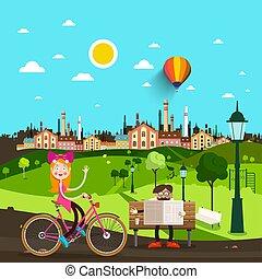 ville, vecteur, parc, gens