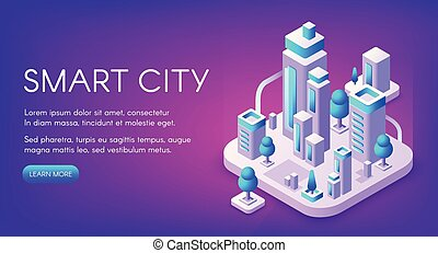 ville, vecteur, technologie, intelligent, illustration