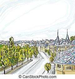 ville, vecteur, vieux, illustration.