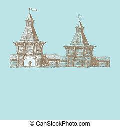 ville, vecteur, vieux, illustration