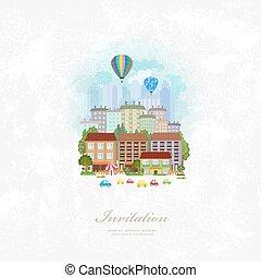 ville, vendange, sur, air, chaud, invitation, ballons, carte