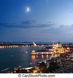 ville, venise, soir, vue aérienne