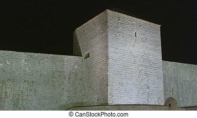 ville, vieux, dubrovnik, détail, murs, night.