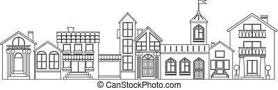ville, vieux, illustration., contour., isolé, maisons, vecteur, européen, contour