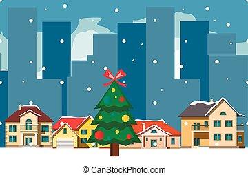 ville, vieux, neigeux, décoré, noël, carte