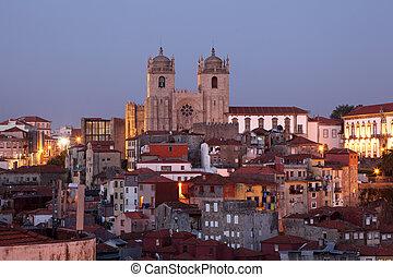 ville, vieux, portugal, porto, -, ribeira